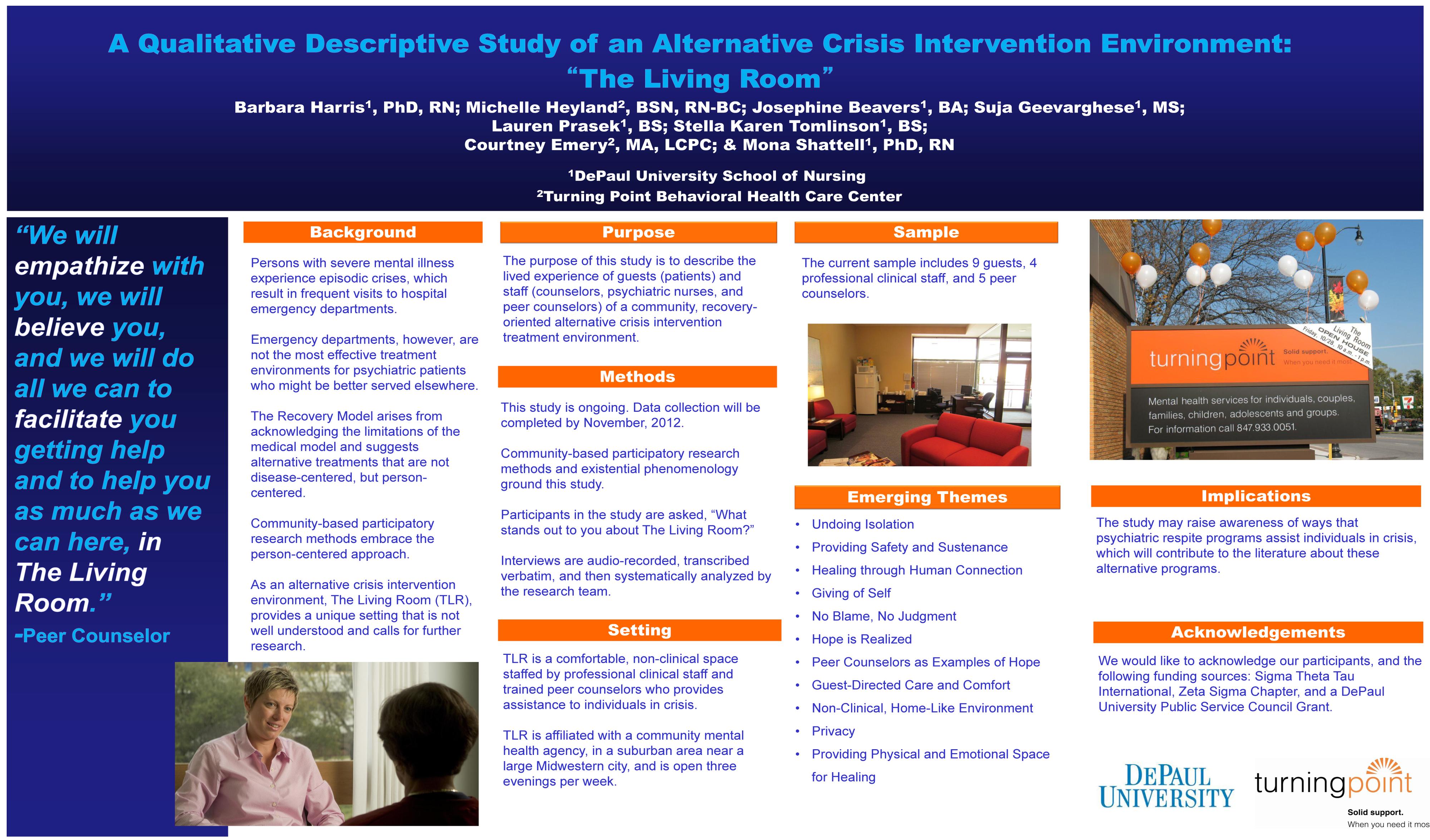 Qualitative poster design - A Qualitative Descriptive Study Of An Alternative Crisis Intervention Treatment Environment The Living Room